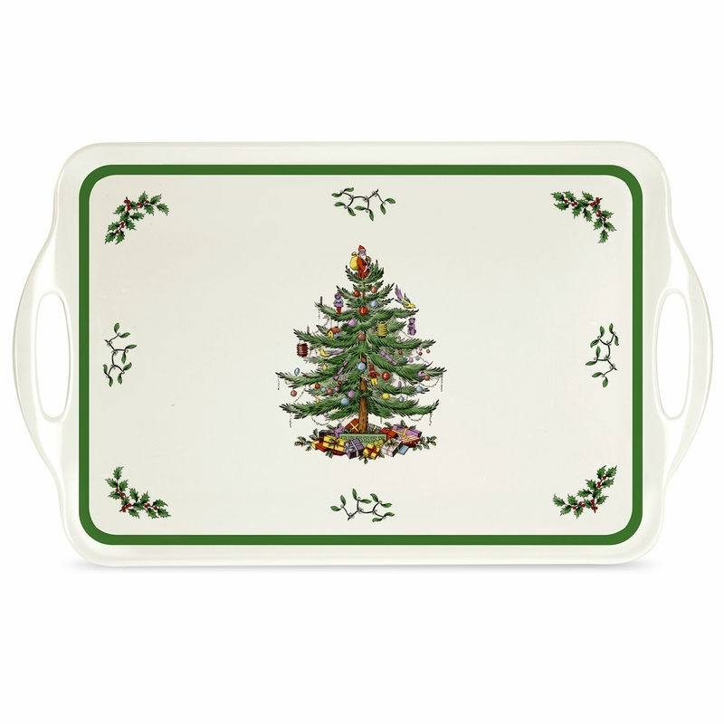 Christmas tree large melamine handled tray by pimpernel for Christmas tree tray floor