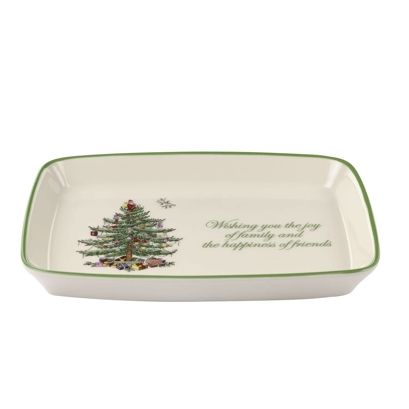 Christmas tree rectangular sentiment tray by spode