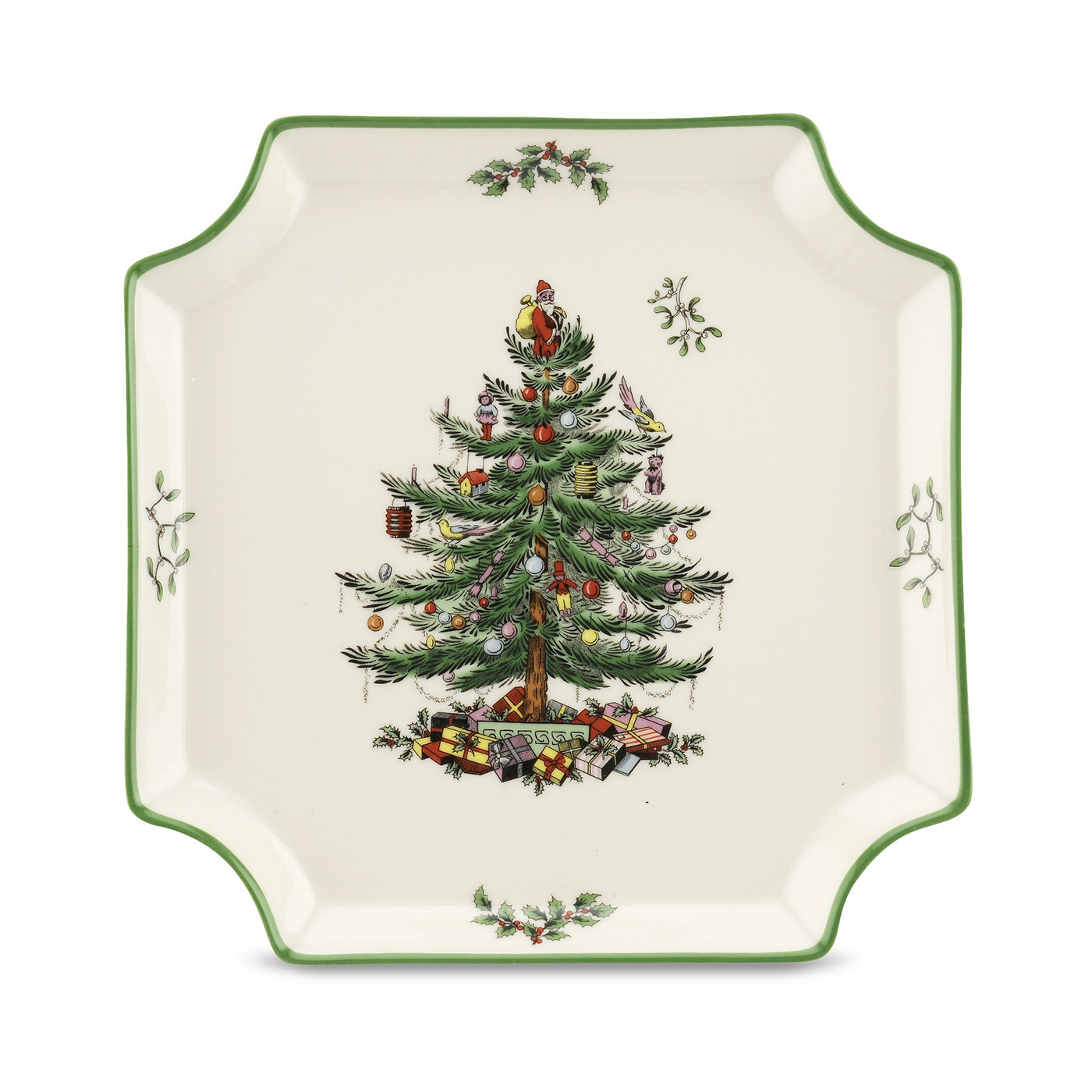 Christmas tree square canape plate by spode for Christmas canape plates