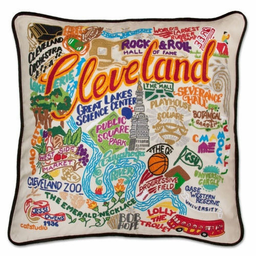 Cleveland XL Hand-Embroidered Pillow by Catstudio (Special Order)