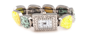 Green Envy Square Pebble Watch
