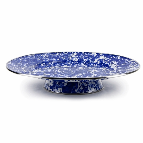 Cobalt Swirl Cake Plate by Golden Rabbit