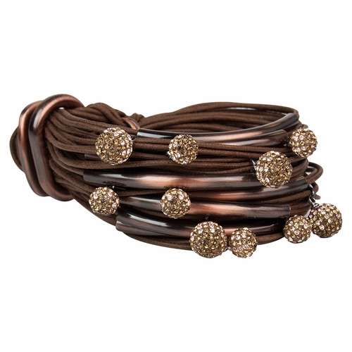 Coffee Copper Tubes Two-Tone Diamond Balls Bracelet by Gillian Julius
