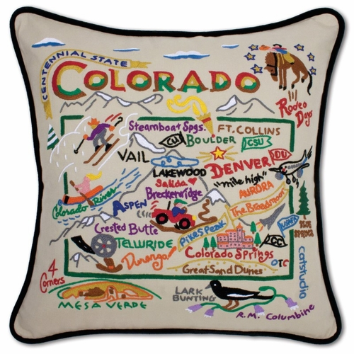 Colorado XL Hand-Embroidered Pillow by Catstudio (Special Order)