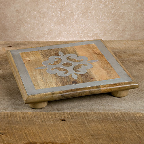 "10"" Wood Trivet w/ Metal Inlay - GG Collection"