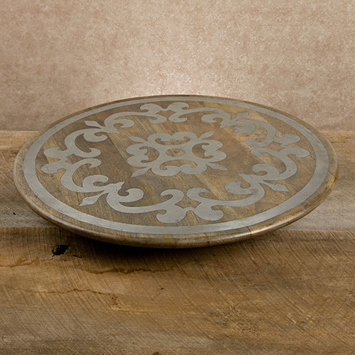 """22"""" Wood Lazy Susan w/ Metal Inlay - GG Collection"""
