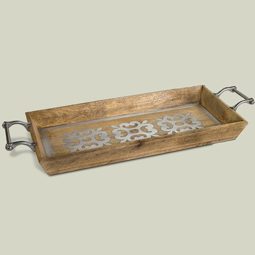"30"" Wood Tray w/ Metal Inlay - GG Collection"
