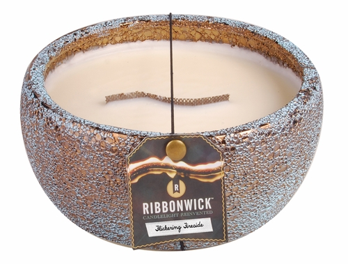 Flickering Fireside - Large Round RibbonWick Candle