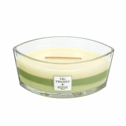 COMING SOON! - Garden Oasis WoodWick Trilogy Candle 16 oz. HearthWick Flame