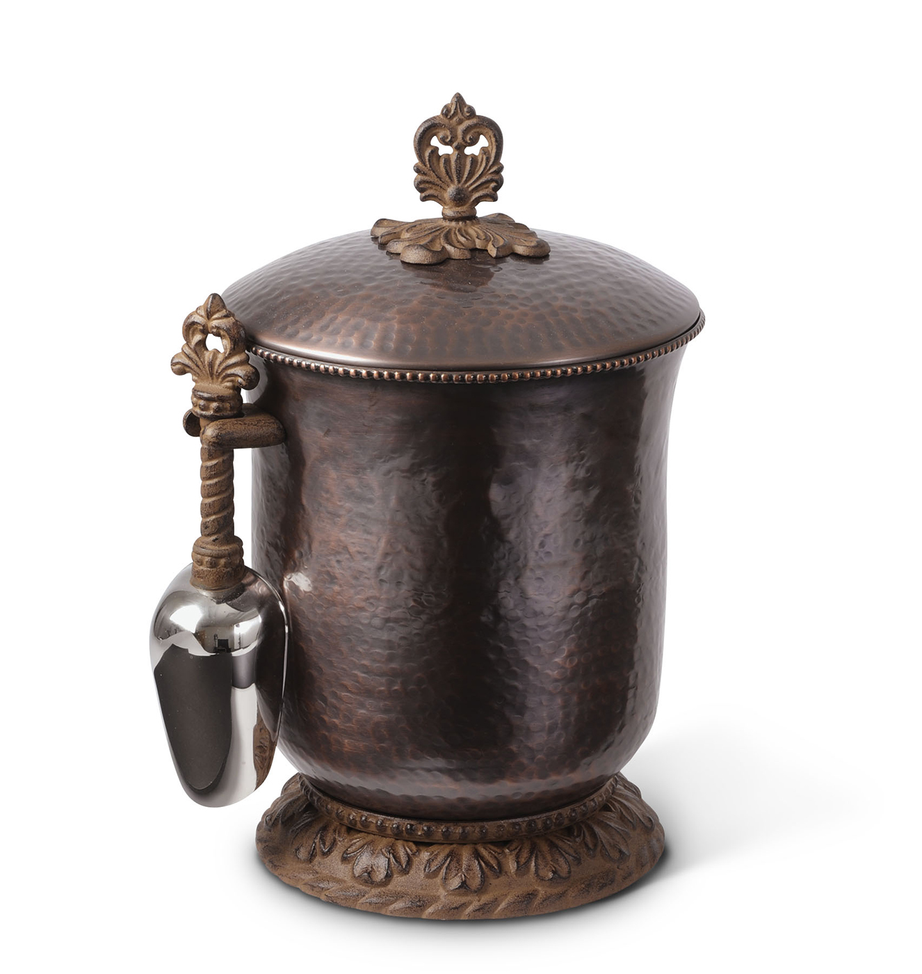Hammered Ice Bucket With Scoop& Antique Copper - GG Collection