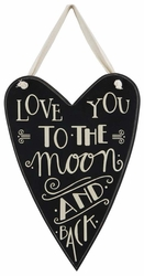 To The Moon Small Heart Sign  - Primitives by Kathy