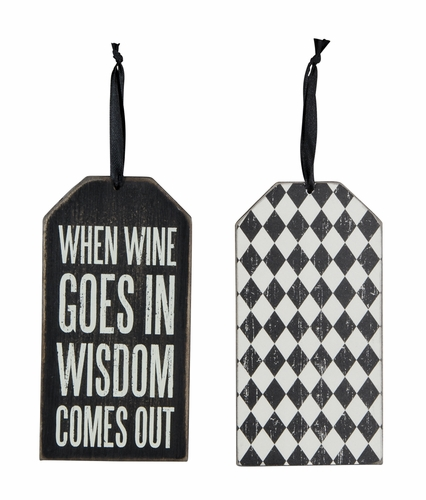 Wine Goes In Bottle Tag - Primitives by Kathy