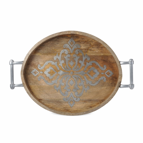 Wood and Metal Inlay Large Oval Tray - GG Collection (Available late July)