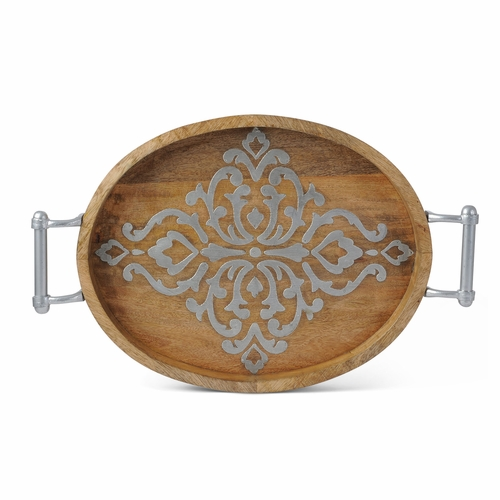 Wood and Metal Inlay Med Oval Tray - GG Collection