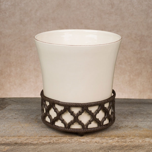Cream Ogee-G Wastebasket - GG Collection