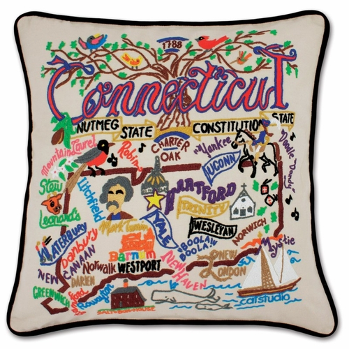 Connecticut XL Hand-Embroidered Pillow by Catstudio (Special Order)
