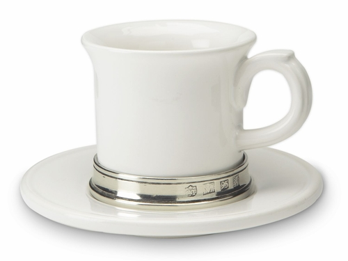 Convivio Espresso Cup with Saucer by Match Pewter