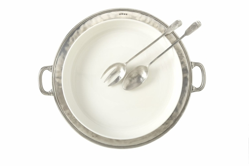 Convivio Round Serving Casserole Platter with Handles by Match Pewter