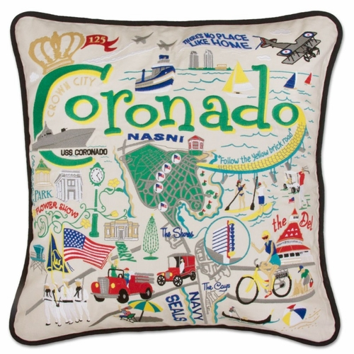 Coronado XL Hand-Embroidered Pillow by Catstudio (Special Order)