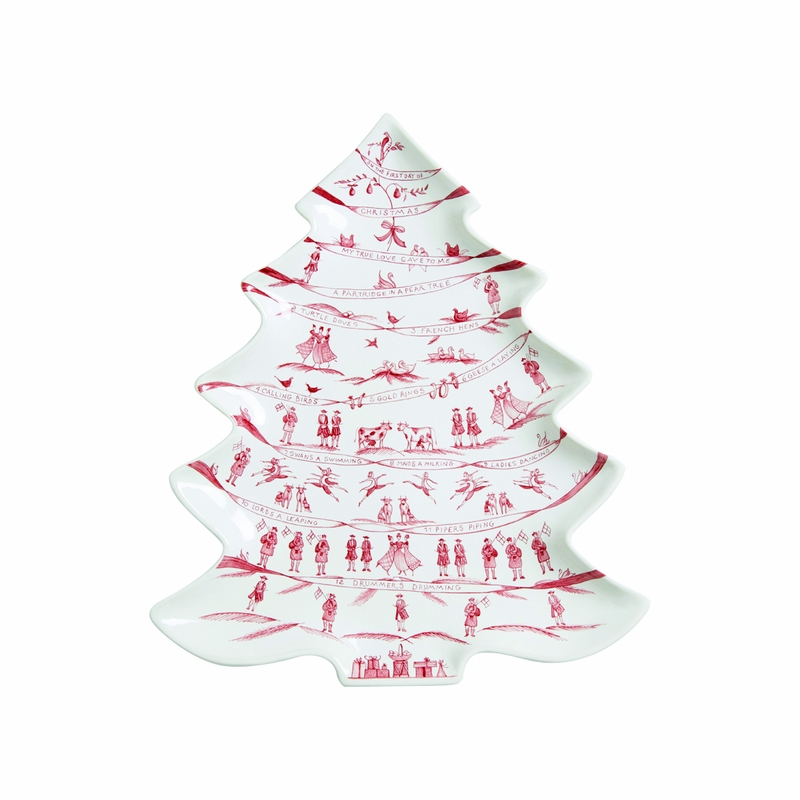 Country Estate Winter Frolic Ruby Tree Platter 12 Days of Christmas ...