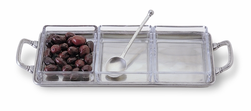 Crudite with Crystal Inserts & Handles by Match Pewter