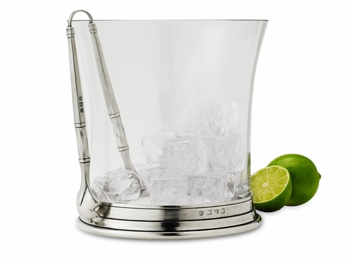 Crystal Ice Bucket with Tongs by Match Pewter