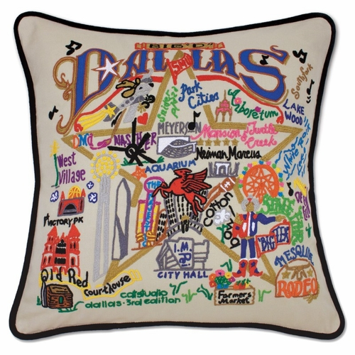 Dallas XL Hand-Embroidered Pillow by Catstudio (Special Order)