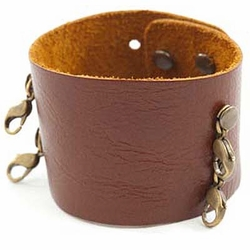 Dark Chestnut Wide Cuff - Brass Finish  - Lenny & Eva