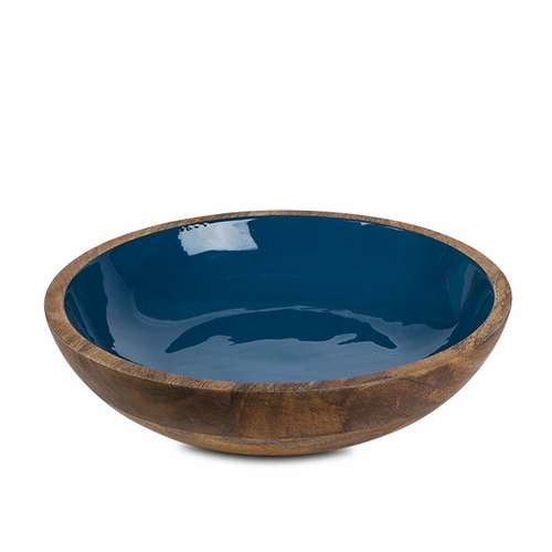 Deep Blue Enamel Mango Wood Serving Bowl - GG Collection