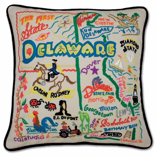 Delaware XL Hand-Embroidered Pillow by Catstudio (Special Order)