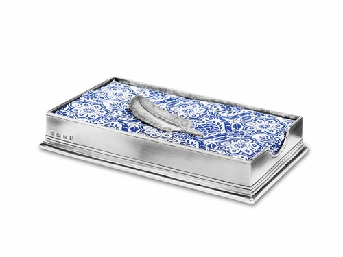 Dinner Napkin/Guest Towel Box with Feather by Match Pewter