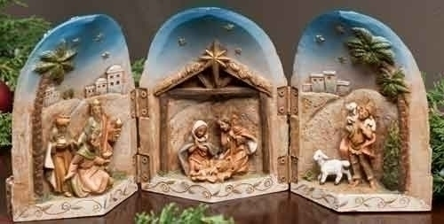 "5"" Fontanini Nativity Scene Triptych Display"