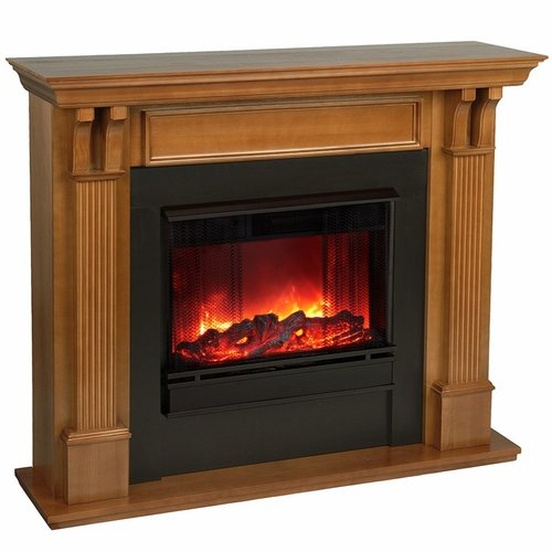 ashley electric oak fireplace by real flame. Black Bedroom Furniture Sets. Home Design Ideas