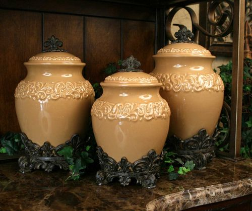Butterscotch Large Ceramic Canister Set