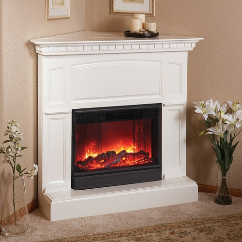 heritage corner electric white fireplace by real flame