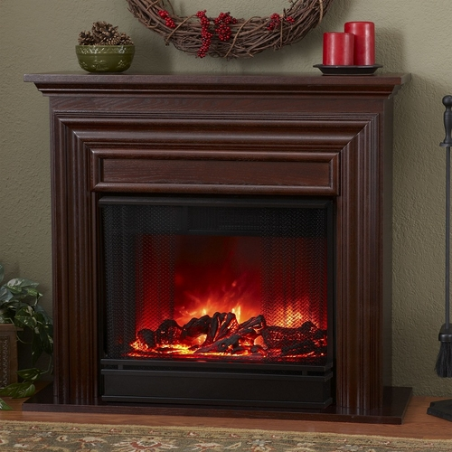 Petitie Visionary Electric Mahogany Fireplace By Real Flame