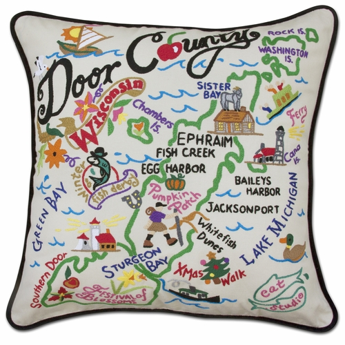 Door County XL Hand-Embroidered Pillow by Catstudio (Special Order)