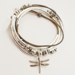 Dragonfly Natural Brown Gray Large Bracelet by Lizzy James