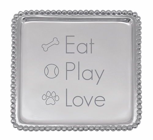 """Eat Play Love"" Beaded Cocktail Napkin Tray by Mariposa"