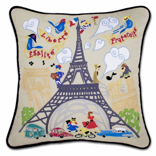 Eiffel Tower XL Hand-Embroidered Pillow by Catstudio (Special Order)
