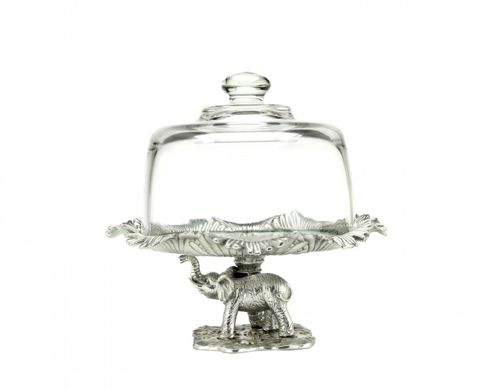 Elephant Plate With Glass Dome By Arthur Court