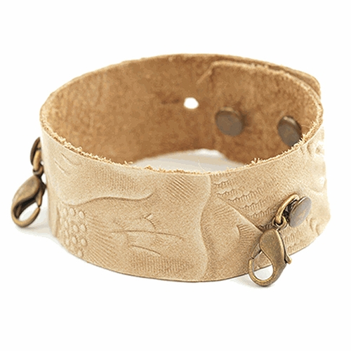 Embossed Natural Thin Cuff - Brass Finish  - Lenny & Eva