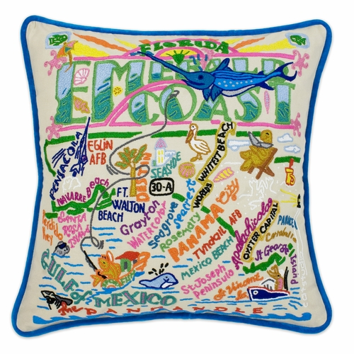 Emerald Coast XL Hand-Embroidered Pillow by Catstudio (Special Order)