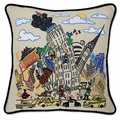 Empire State XL Hand-Embroidered Pillow by Catstudio (Special Order)