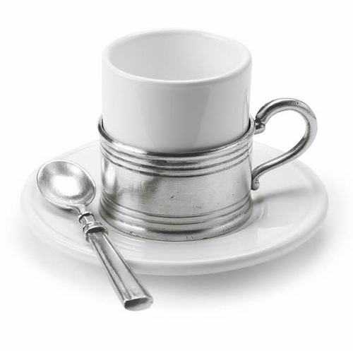 Espresso Cup with Ceramic Saucer by Match Pewter