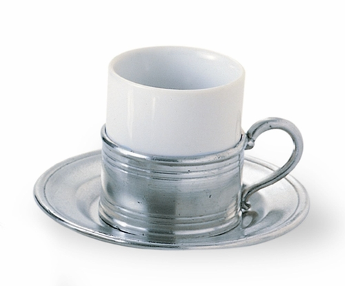 Espresso Cup with Pewter Saucer by Match Pewter