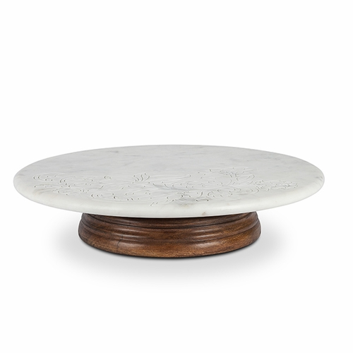 """Etched Floral 16"""" Marble Lazy Susan with Mango Wood Base  - GG Collection"""