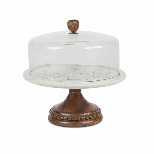 Etched Floral Marble Cake Pedestal with Glass Dome and Mango Wood Base - GG Collection (Special Orde