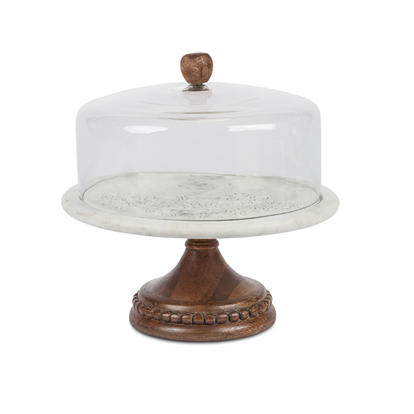 Etched Floral Marble Cake Pedestal With Glass Dome And Mango Wood
