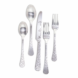 Etched Floral Silver Matte Stainless Steel Flatware (20 Piece Set) - GG Collection